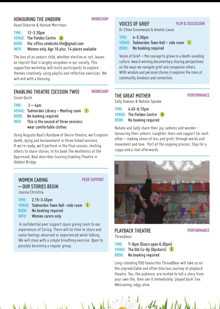 Programme for Pushing Up Daisies in Todmorden May 11th-18th